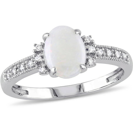 5/8 Carat T.G.W. Opal and Diamond-Accent 10kt White Gold Cocktail Ring Vintage Opal Cocktail Ring