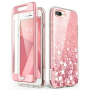 iPhone 8 Plus Case,iPhone 7 Plus Case, [Built-in Screen Protector] i-Blason [Cosmo] Glitter Clear Bumper Case for iPhone 8 Plus & iPhone 7 Plus (Pink)