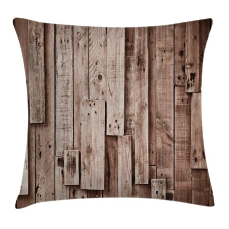 Wooden Throw Pillow Cushion Cover, Vintage Barn Shed Floor Wall Planks Sepia Art Old Natural Plywood Lodge Image Print, Decorative Square Accent Pillow Case, 16 X 16 Inches, Grey Brown, by