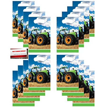 Tractor Time Party (16 Pack) Party Plastic Loot Treat Candy Favor Bags (Plus Party Planning Checklist by Mikes Super Store) (Tractor Party Favors)