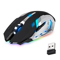 EEEkit Wireless Optical Gaming Mouse With USB Receiver, 7 Color Changing Wireless Laptop Mouse, Rechargeable Game Mice with 4 Adjustable CPI Levels for PC, Laptop, Computer, Gaming Players