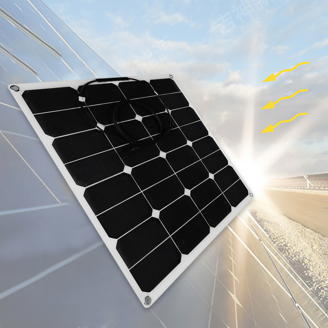 50W Solar Panel Monocrystalline Off Grid 12V RV Marine Boat with MC4 Connector - image 5 de 7