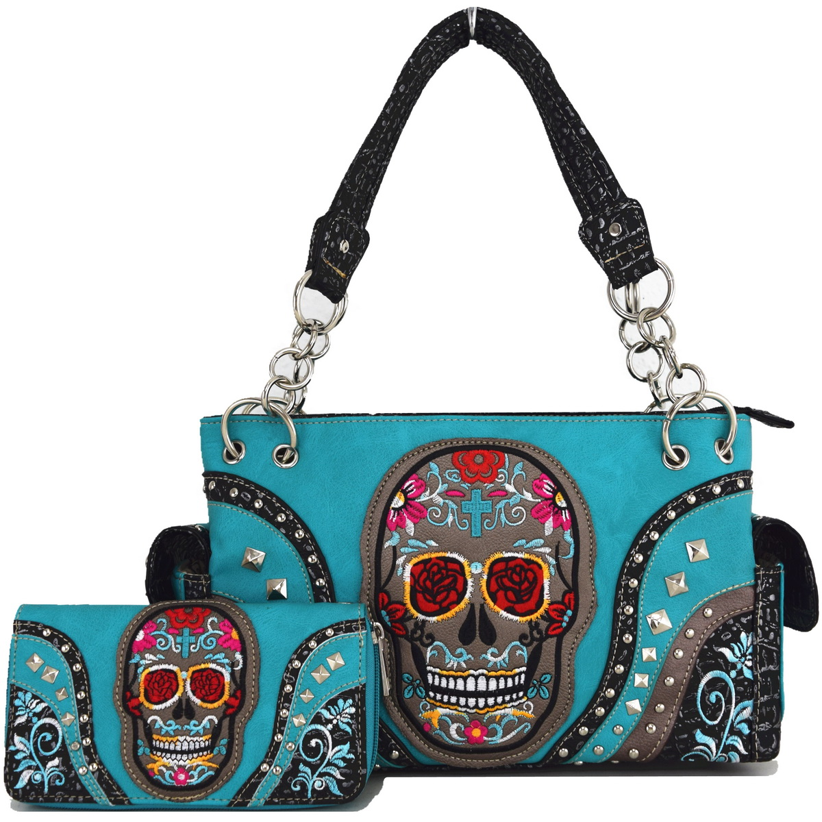 Blancho Bedding Womens [Western Cowgirl Day Of The Dead] PU Leather ...