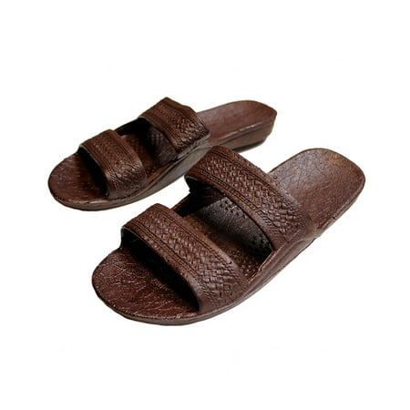 2bc565267 SURFWARE HAWAIIAN - Brown Rubber Slide on Sandal Slippers Double Strap