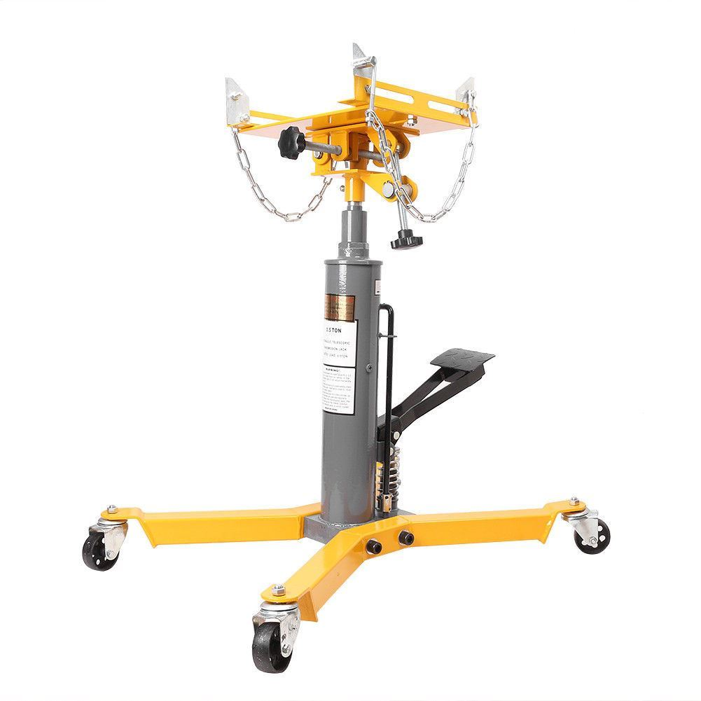 2 Stage Hydraulic Transmission Jack 1500 lbs with 360° Swivel Wheels Lift Hoist - Yellow