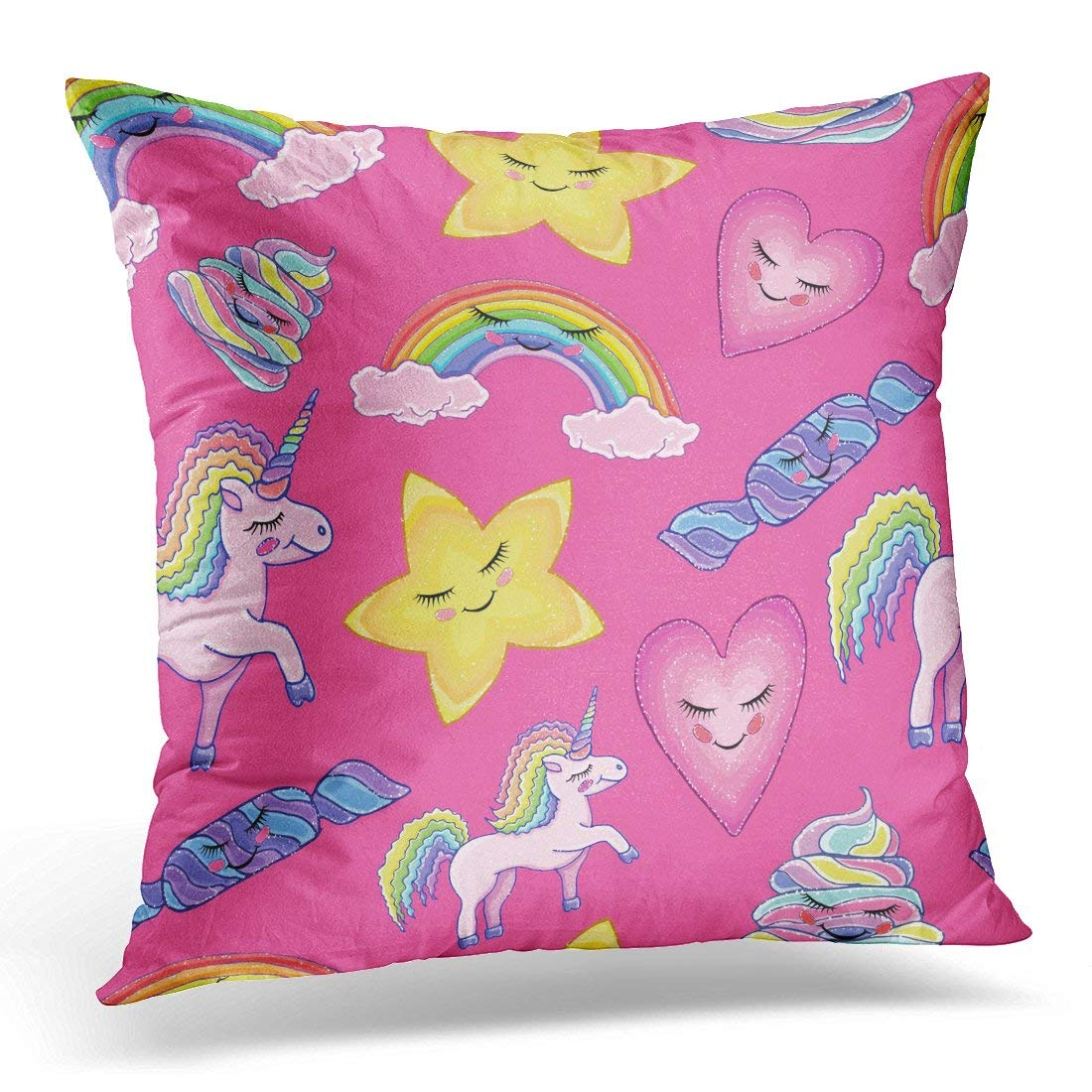 USART Colorful Animal Pattern Unicorn Rainbow Clouds Star Heart Candy Poop Magic Pink Design Child Holiday Pillow Case Pillow Cover 20x20 inch