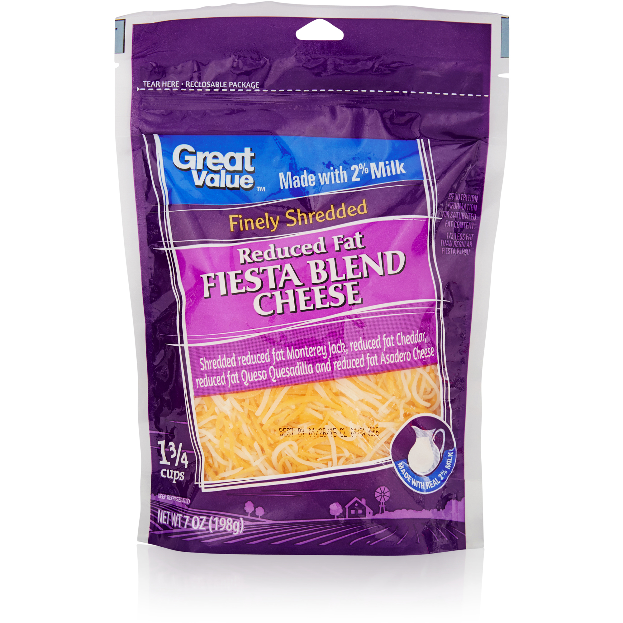 Great Value Finely Shredded Fiesta Blend Cheese, 7 oz
