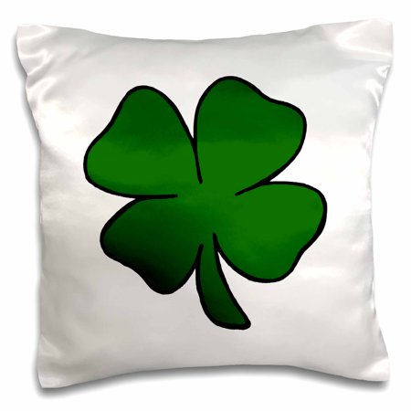 3dRose simple lucky four leaf clover design - Pillow Case, 16 by 16-inch (Four Leaf Clovers)