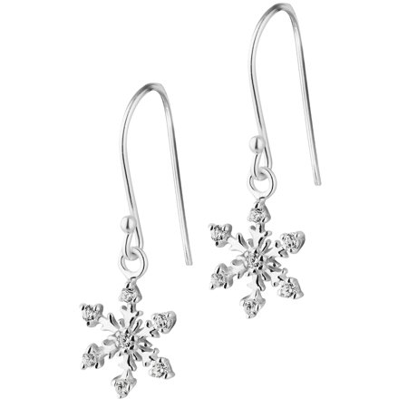 Sterling Silver CZ Simulated Diamond Snowflake Dangle Earrings for -