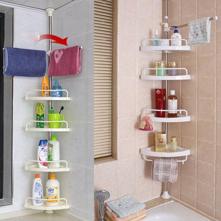 VGEBY Corner Bathroom, Kitchen & Garage 4 Tier Basket Storage Shelving Unit By Above Edge – Durable, Water Resistant, Rust Proof Material – Ideal For Towels, Toilet Paper, Tissues, Shampoo