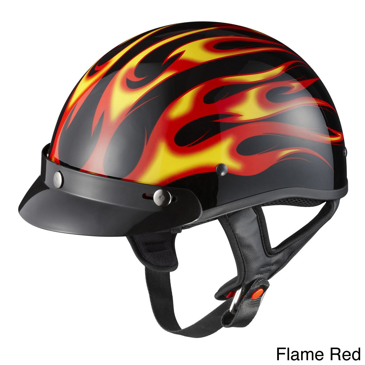 GLX Motorcycle Snap-on Visor Half Helmet Flame Silver, X Small