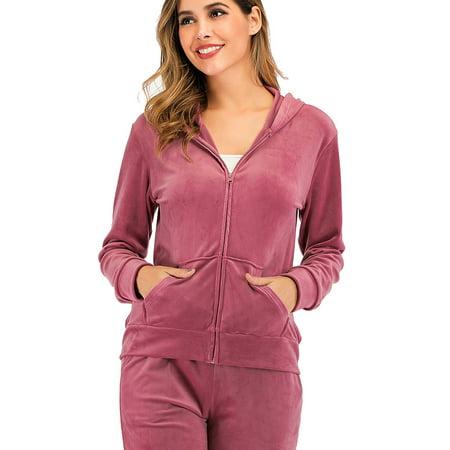 SAYFUT Women's Full-Zip Long Sleeve Hoodie Velour Sweatshirt Casual Joggers Activewear Hooded Jacket with Pockets Pink Velour Hoodie