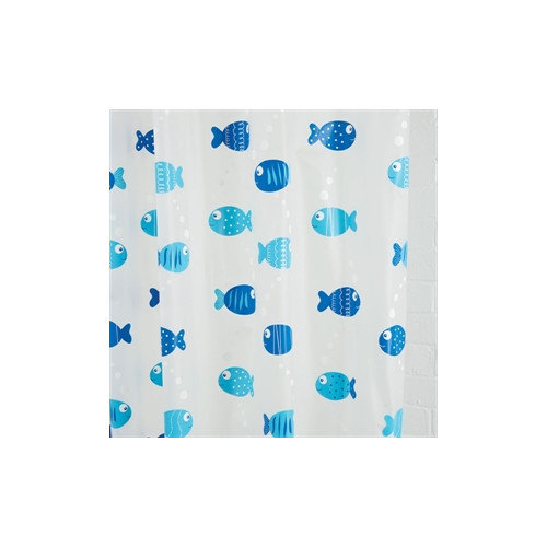 Croydex Wiggly Fish Vinyl Shower Curtain