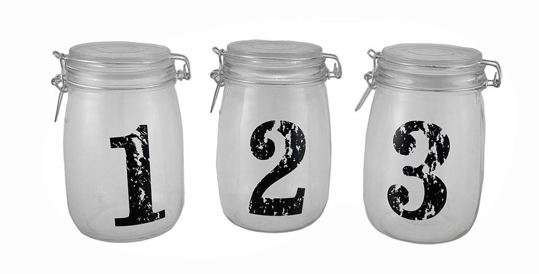1, 2, 3 Vintage Look Glass Storage Jars Three Piece Set by Merchandise USA
