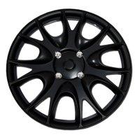 "Set of 4  Matte Black Hubcaps 15"" WSC-533B15 - Hub Caps Wheel Skin Cover 15 Inches 4 Pcs Set"
