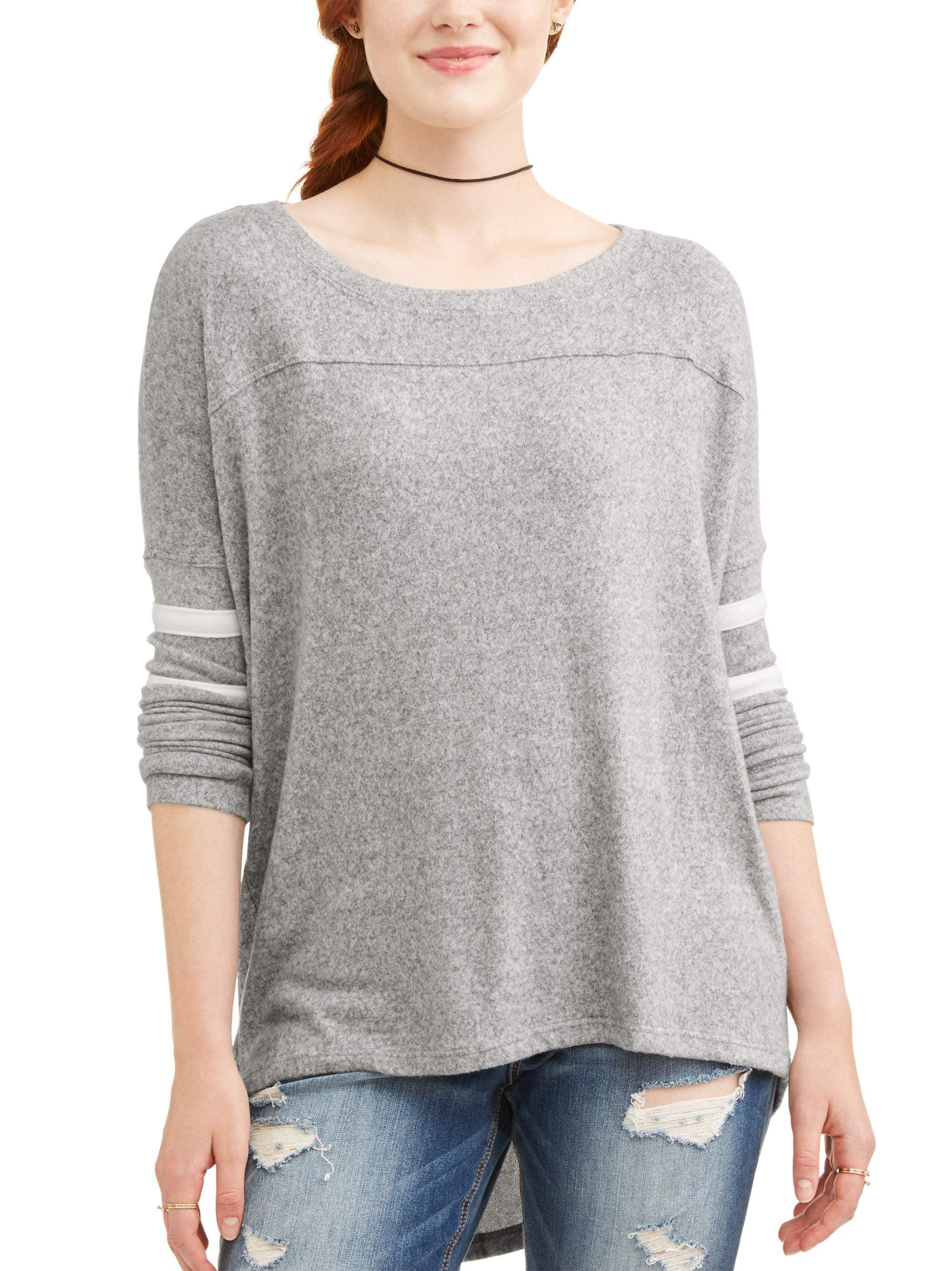 POOF-Slinky Juniors' Varsity Stripe Long Sleeve Tunic Sweater