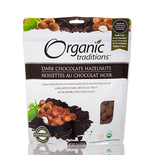 Dark Chocolate Hazelnuts - 8 oz (227 Grams) by Organic Traditions