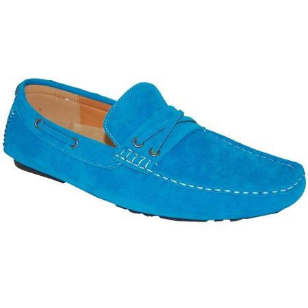 AMERICAN SHOE FACTORY Malibu Blue Leather Lined Upper Slip Ons, Men ()