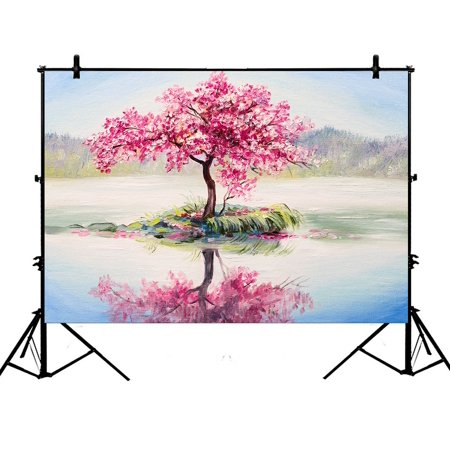 PHFZK 7x5ft Oil Painting Landscap Backdrops, Cherry Blossom Tree Pink Photography Backdrops Polyester Photo Background Studio Props