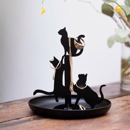 - Kikkerland Jewelry Display Watch Bracelet Ring Holder Cats Stand Organizer Black