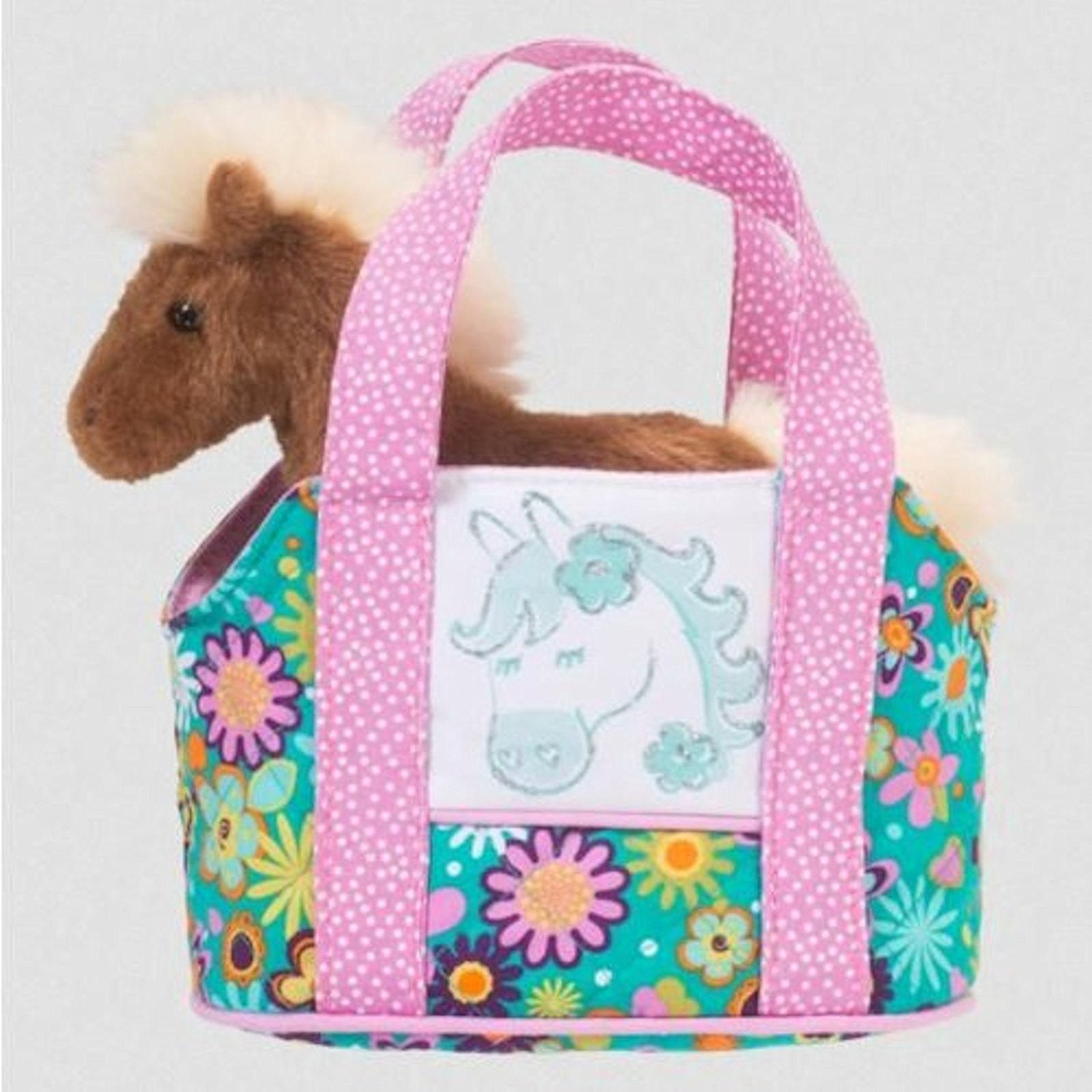 Douglas Toys Flower Horse Sassy Pet Sak Tote with Plush Horse Toy, By Douglas Cuddle Toys Ship from US by