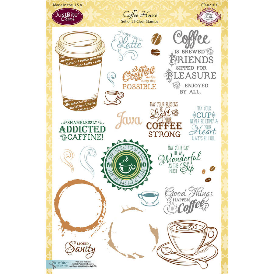 """JustRite Papercraft Clear Stamp Set, 6"""" x 8"""", Coffee House"""