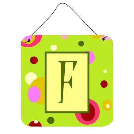 Letter F Initial Monogram - Green Aluminium Metal Wall or Door Hanging Prints](Monogram F)