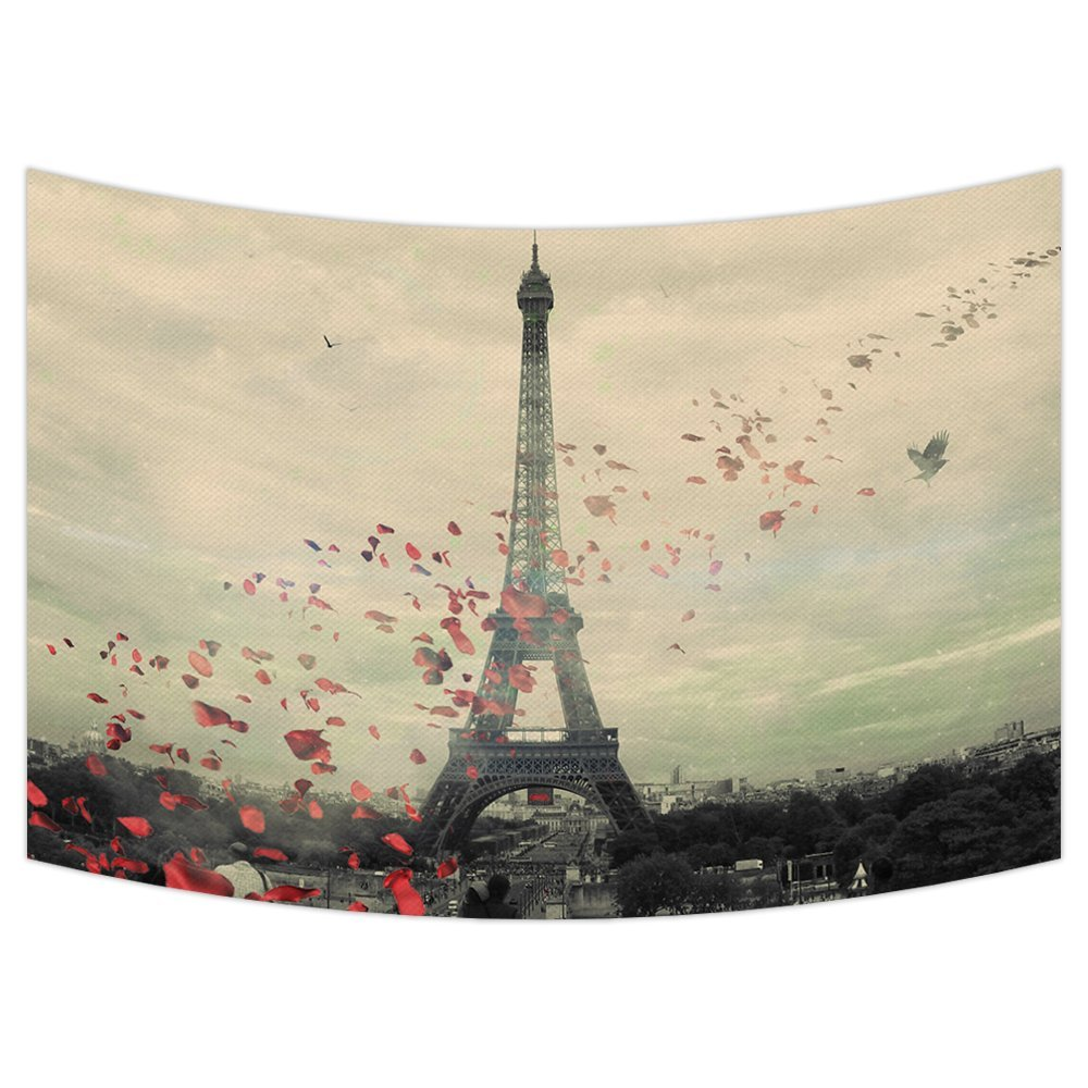 GCKG Eiffel Tower Tapestry,Frech Paris Eiffel Tower Love Flower Wall Hanging Wall Decor Art for Living Room Bedroom Dorm Cotton Linen Decoration Size 90x60 inches