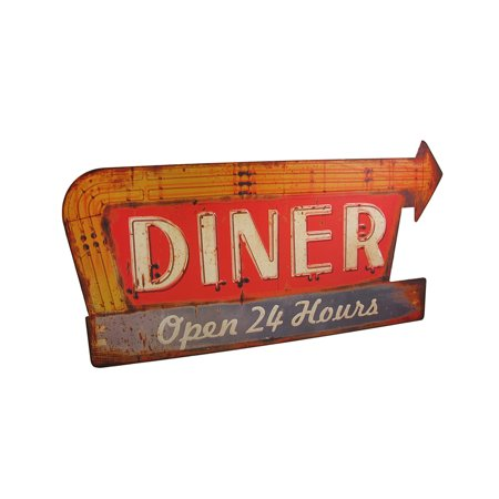 Distressed Finish Retro 24 Hour Diner Metal Sign - image 3 of 3