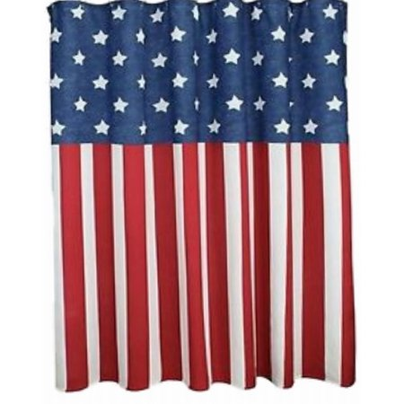 Celebrate Americana Red White Blue Fabric Shower Curtain USA Bath Decor