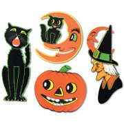 Club Pack of 48 Halloween Black Cat, Witch, Cat & Moon and Pumpkin 2 Sided Design Cutout Decorations