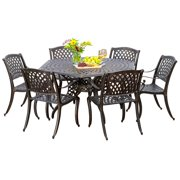 Ashlyn 7pc Cast Aluminum Bronze Outdoor Dining Set