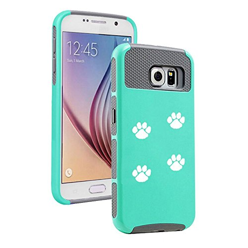 Samsung Galaxy S7 Shockproof Impact Hard Case Cover Paw Prints Walking (Teal-Grey ),MIP