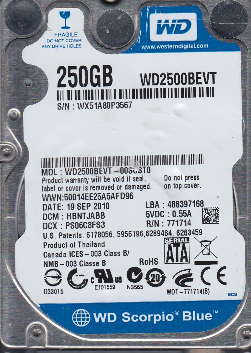 WD2500BEVT-00SCST0, DCM HBNTJABB, Western Digital 250GB SATA 2.5 Hard Drive by WD
