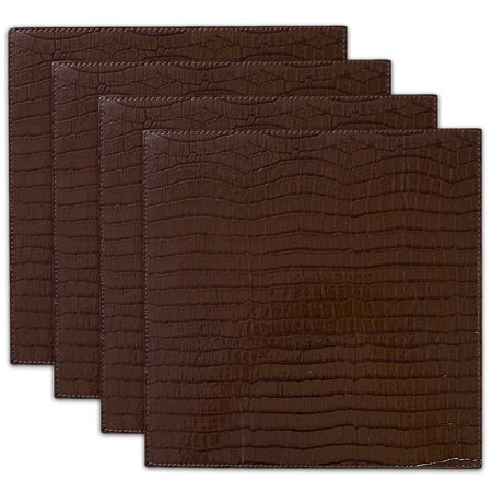 crocodile faux leather square kitchen dining table placemat set 13 x 13. Black Bedroom Furniture Sets. Home Design Ideas