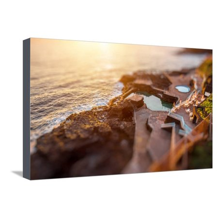 Natural Pools in Charco Azul Resort on La Palma Island on the Sunrise in Spain. Tilt-Shift Effect Stretched Canvas Print Wall Art By RossHelen