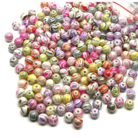 300 Mixed Acrylic Swirl and Strip Glazed Spacer, Loose Beads, 8mm Round (1.4mm (300 Beads)