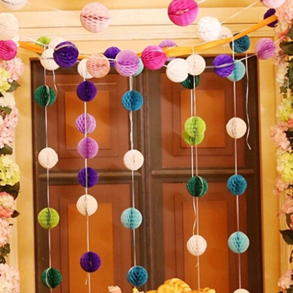 Daily Mall 9pcs 8 in Honeycomb Balls Party Pom Poms Tissue Paper Balls Birthday Balls Decoration Wedding Partners Design Craft Hanging Pom-Pom Ball Home Nursery Decor Light Pink White Pink