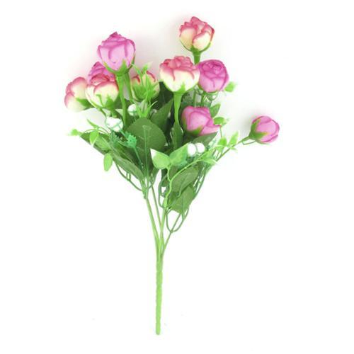 Fuchsia Beige Artificial Fabric Rose Flower Home Decor Wedding Bouquet
