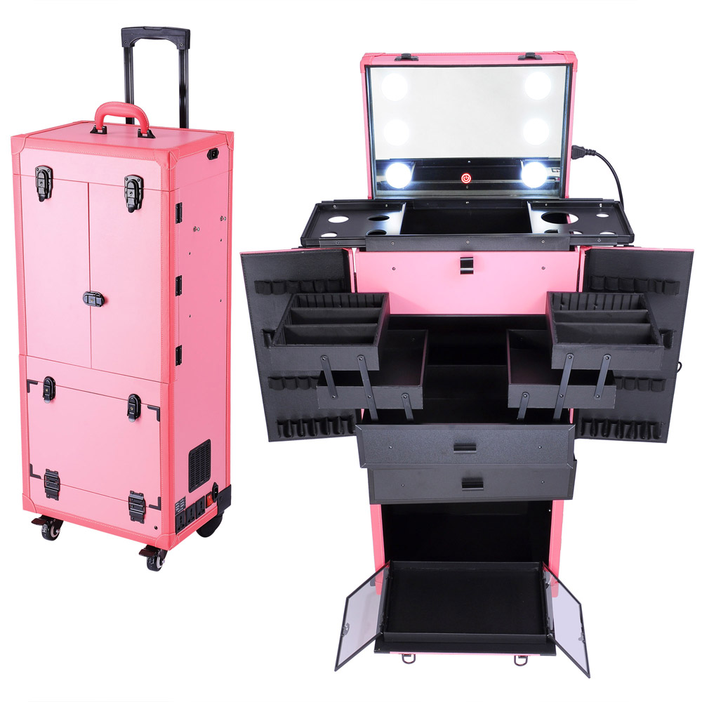 Ghp Pink 34x14x11 Rolling Multifunction Studio Makeup Case W