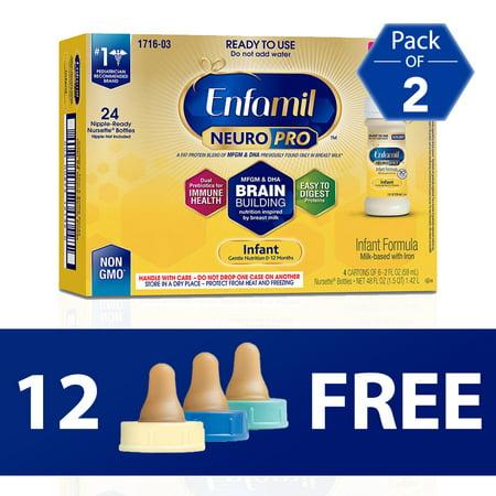 12 Enfamil Bottle Nipples FREE with Purchase of TWO 24-Packs of Enfamil NeuroPro Liquid Baby Formula, 2 fl oz Bottles