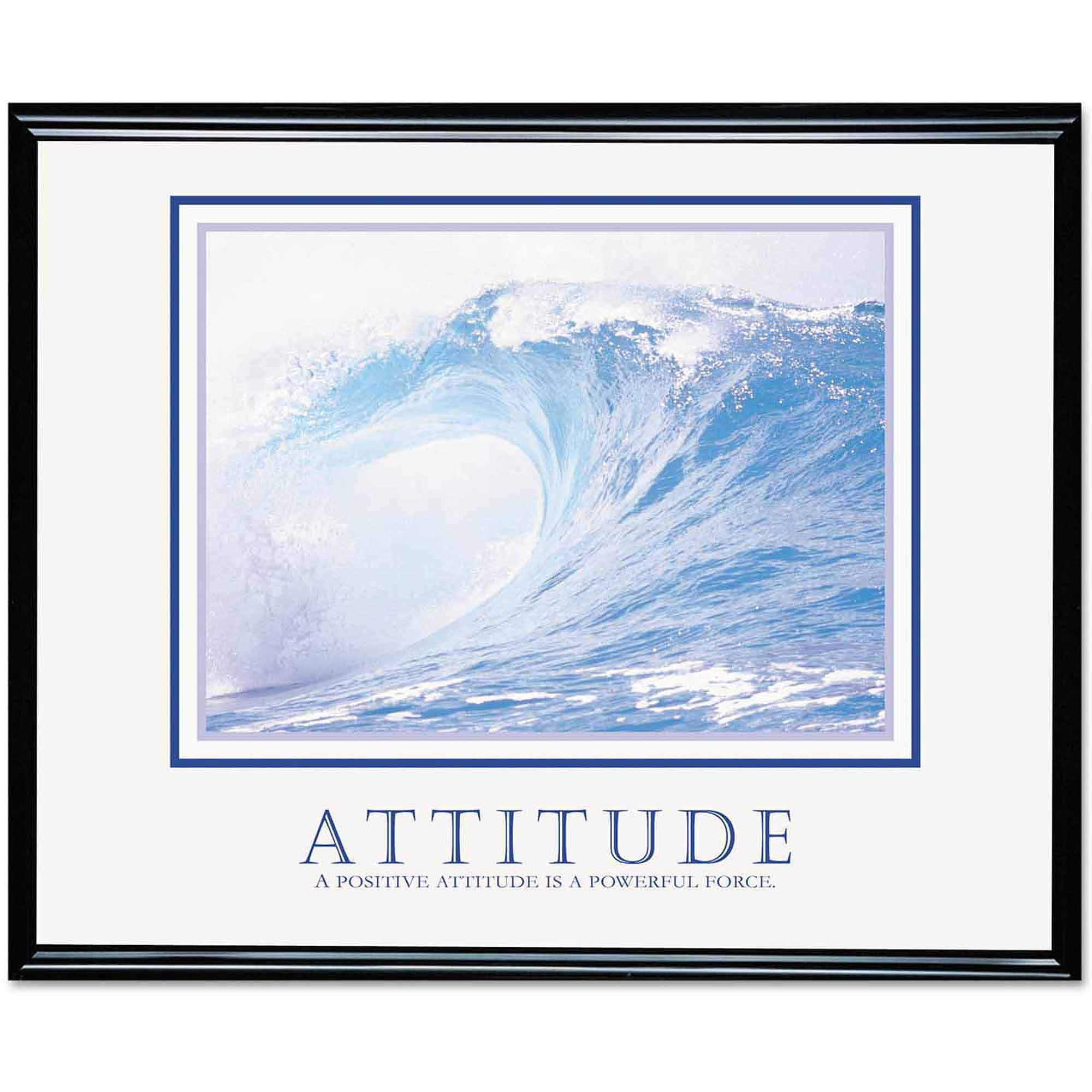 "Advantus ""Attitude/Waves"" Framed Motivational Print, 30"" x 24"""