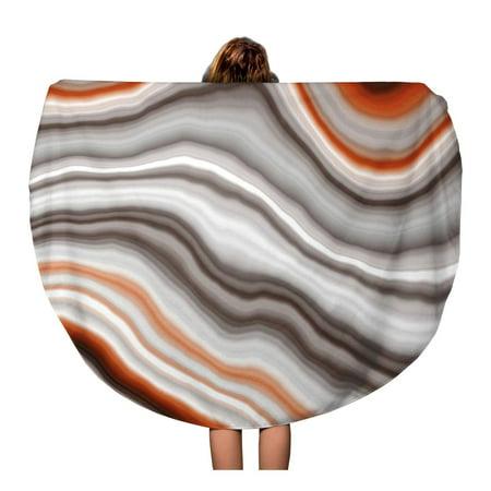 SIDONKU 60 inch Round Beach Towel Blanket Red Onyx Wide Sardonyx Slice Brown White Agate Aragonite Travel Circle Circular Towels Mat Tapestry Beach Throw