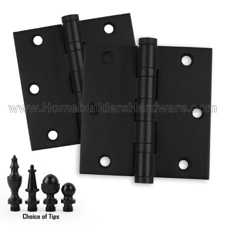 2 PK - Door Hinges 3.5x3.5 Solid Brass Ball Bearing Matte Black (US19) Architectural Grade