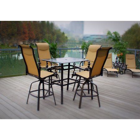 Outdoor Swivel Sling Rust-Proof Powder-Coated Aluminum Bar Height Slat Top Table Patio Dining Set ()