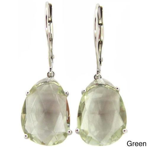 Kabella Jewelry Kabella Luxe 14k White Gold Faceted Gemstone Slice Leverback Earrings
