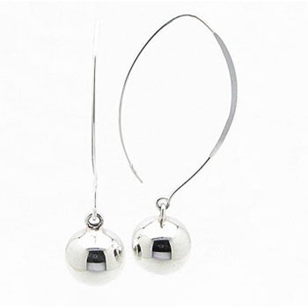 12mm Ball Drops Sterling Silver Shaped Ear Wire Hook