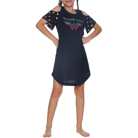 Girls' Wonder Woman Glitter Logo Cold Shoulder Pajama Nightgown (Little Girl & Big - Girls Wonder Woman Pajamas