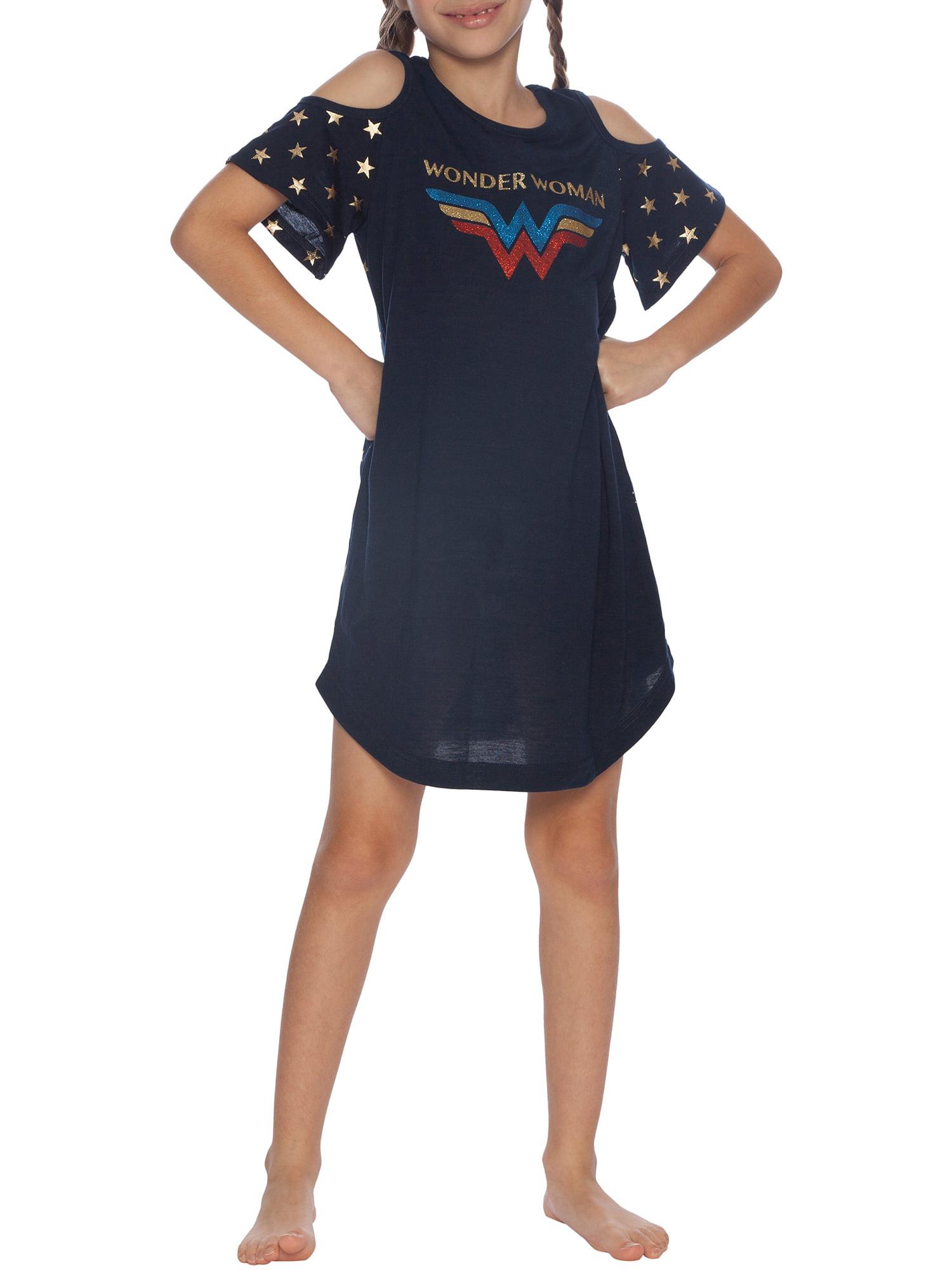 Girls' Wonder Woman Glitter Logo Cold Shoulder Pajama Nightgown (Little Girl & Big Girl)