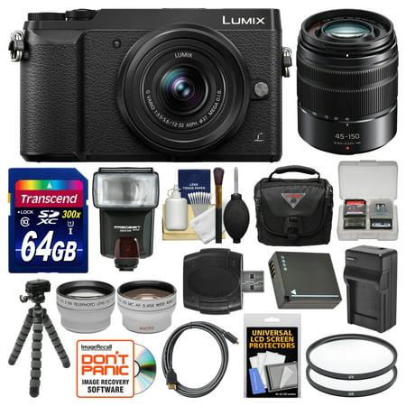 (Panasonic Lumix DMC-GX85 4K Wi-Fi Digital Camera & 12-32mm (Black) + 45-150mm Lens + 64GB Card + Case + Flash + Battery & Charger + Tripod + 2 Lens Kit)